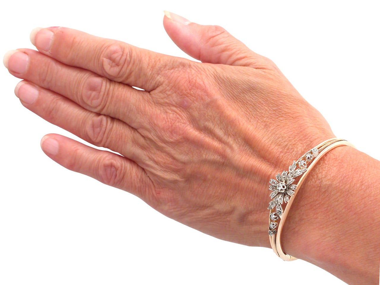 0.62Ct Diamond & 18k Rose Gold, Silver Set Bangle - Antique French Circa 1900 7