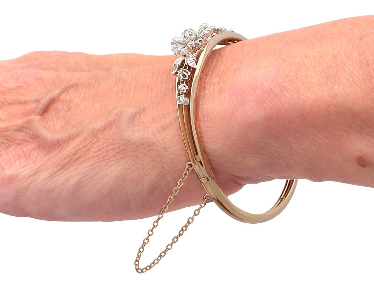 0.62Ct Diamond & 18k Rose Gold, Silver Set Bangle - Antique French Circa 1900 8