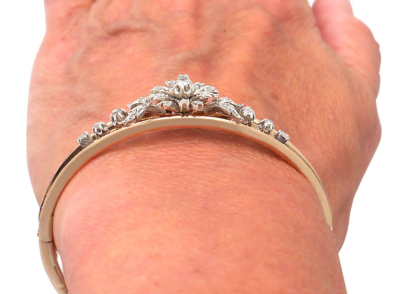 0.62Ct Diamond & 18k Rose Gold, Silver Set Bangle - Antique French Circa 1900 9