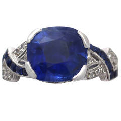 1930s 4.84 Carat Blue Sapphire and Diamond Platinum Cocktail Ring