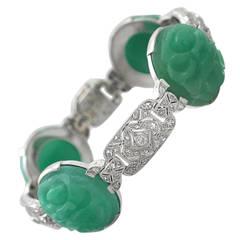 Jade (Natural Nephrite) & 1.12Ct Diamond, Platinum Bracelet - Antique Circa 1935