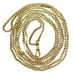 9k Yellow Gold Longuard Chain - Antique Victorian
