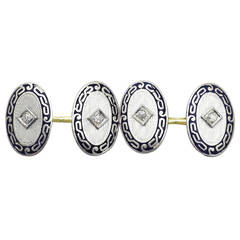 0.12Ct Diamond & Enamel, 14k Yellow Gold, Platinum Set Cufflinks- Antique
