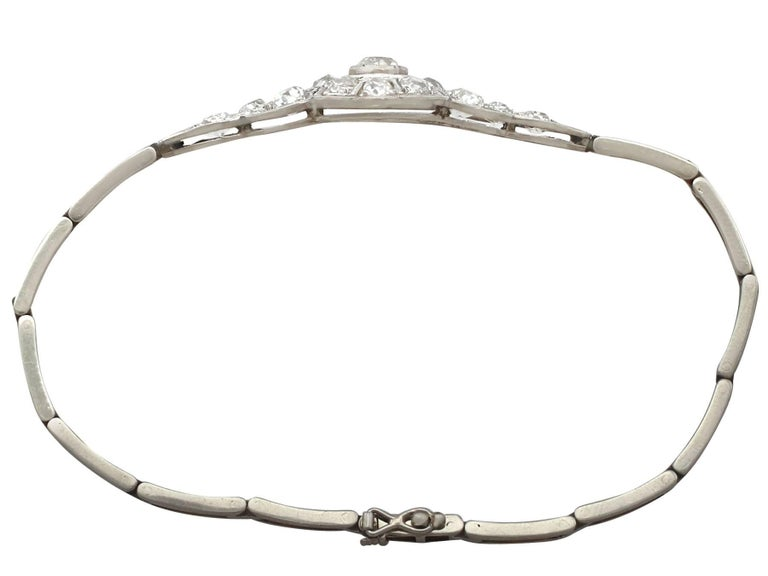 Women's 1920s Antique 4.05 Carat Diamond and White Gold Bracelet For Sale