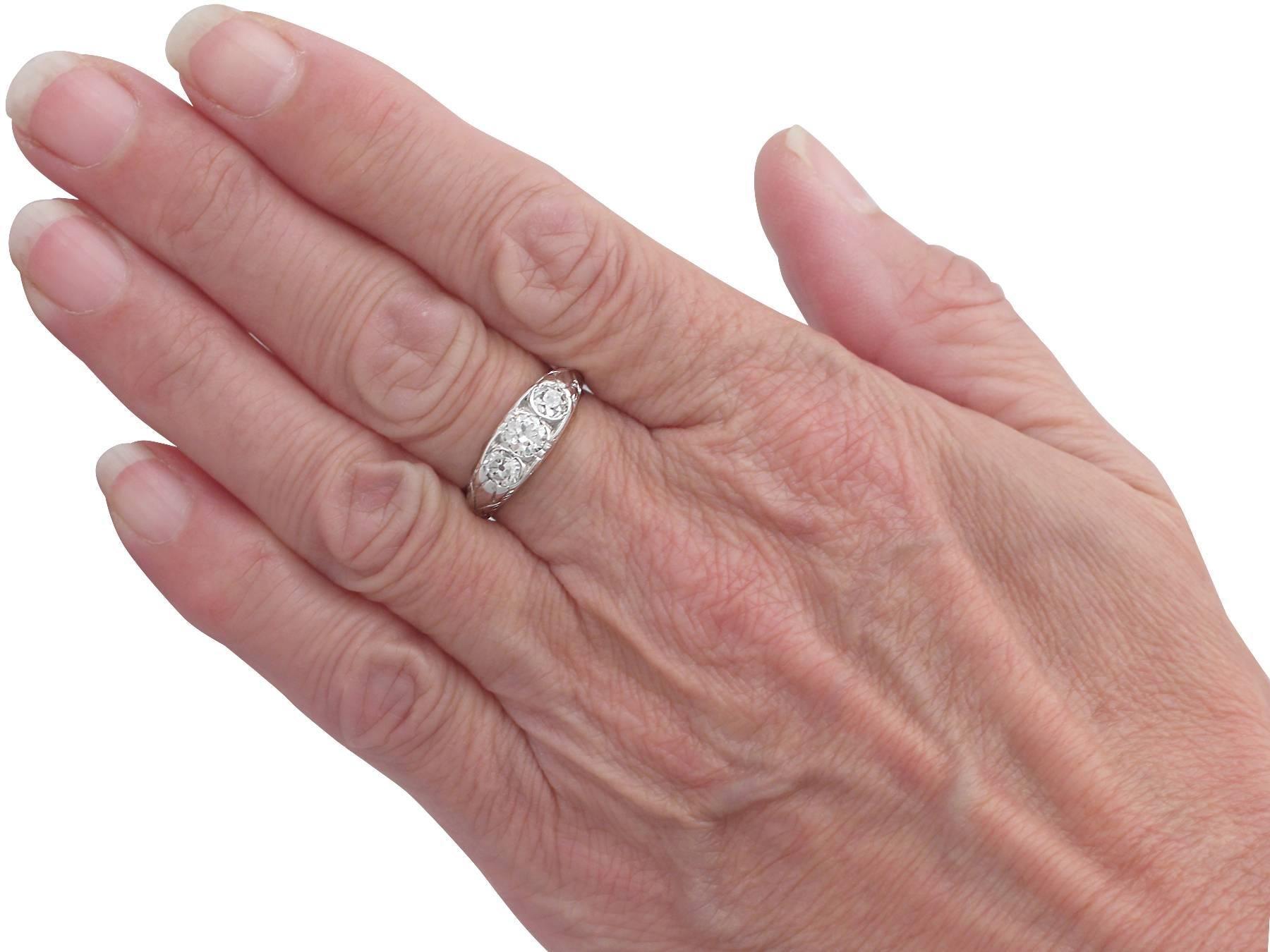 0.91Ct Diamond and Platinum Trilogy Ring - Antique French Circa 1910 ...