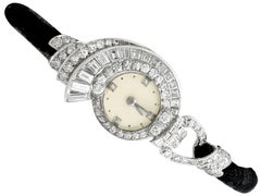 Antique French 3.07 Carat Diamond Cocktail Watch in Platinum