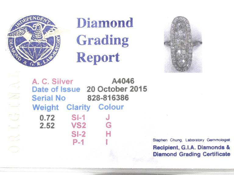 Antique 3.24 Carat Diamond & Palladium Cocktail Ring 6