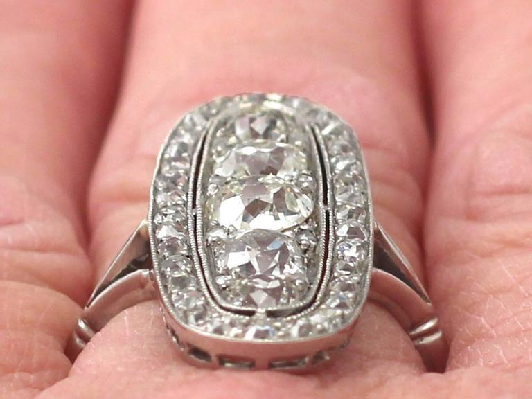 Antique 3.24 Carat Diamond & Palladium Cocktail Ring 9