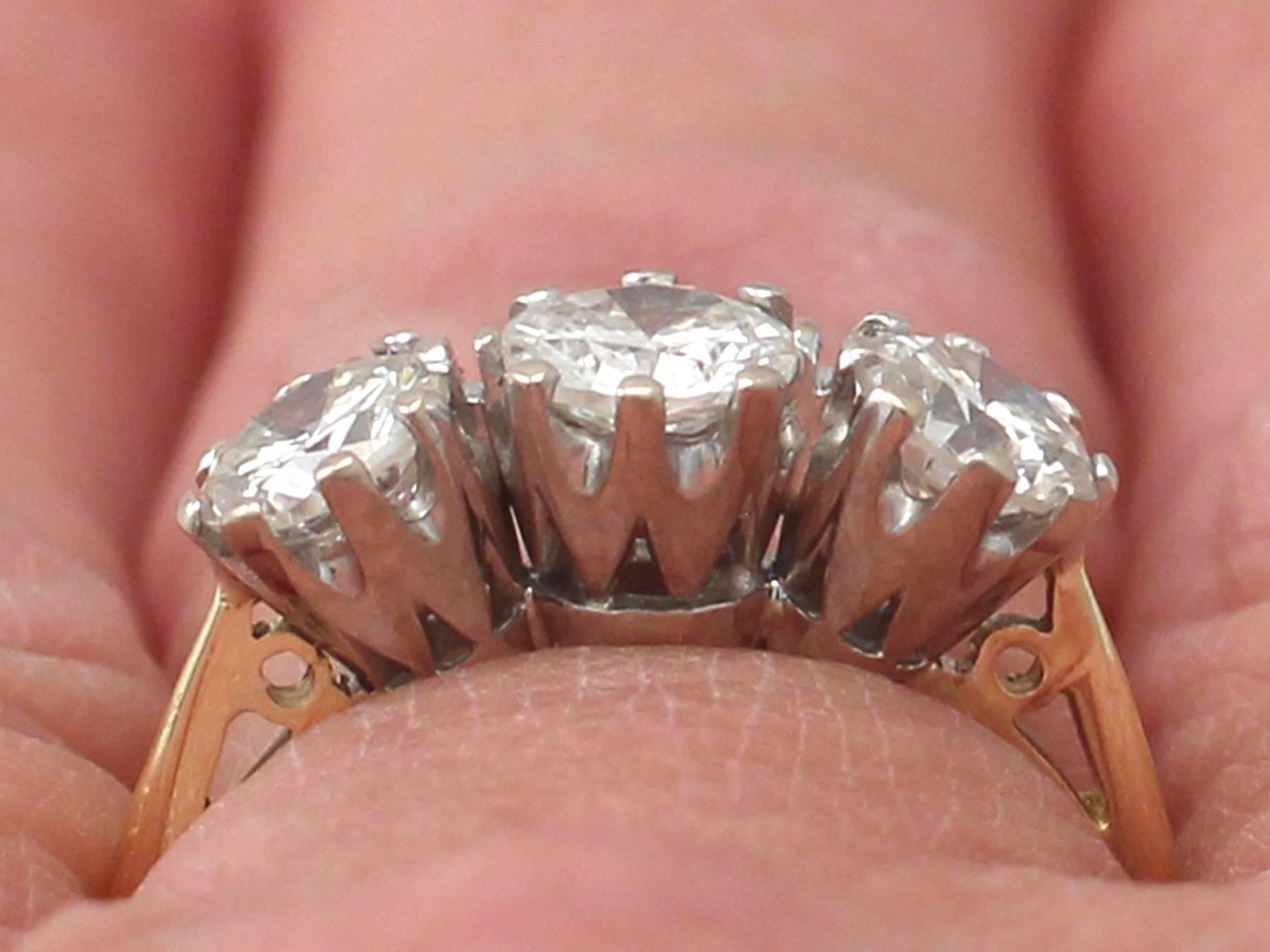 1.56Ct Diamond and 18k Yellow Gold, 18k White Gold Set Trilogy Ring ...