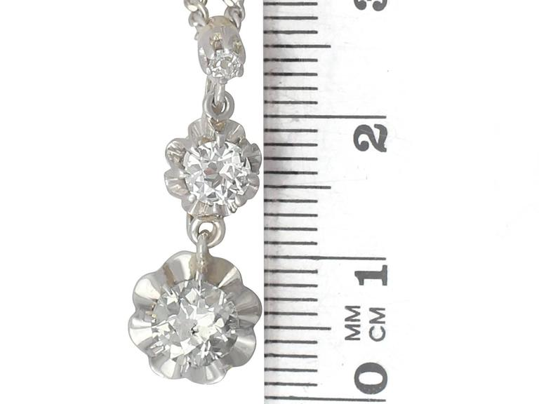 1.25Ct Diamond and 18k Yellow Gold, Platinum Set Pendant - Antique Circa 1900 For Sale 2