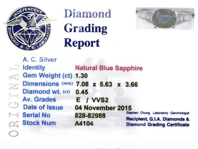 1990s 1.20Carat Sapphire & Diamond White Gold Cocktail Ring 6