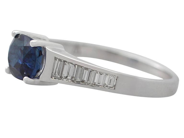 1990s 1.20Carat Sapphire & Diamond White Gold Cocktail Ring 4