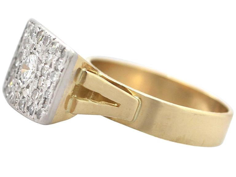 Round Cut 1950s 1.06 Carat Diamond Yellow Gold & White Gold Set Cocktail Ring For Sale
