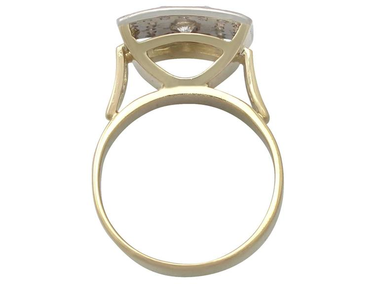 1950s 1.06 Carat Diamond Yellow Gold & White Gold Set Cocktail Ring In Excellent Condition For Sale In Jesmond, Newcastle Upon Tyne