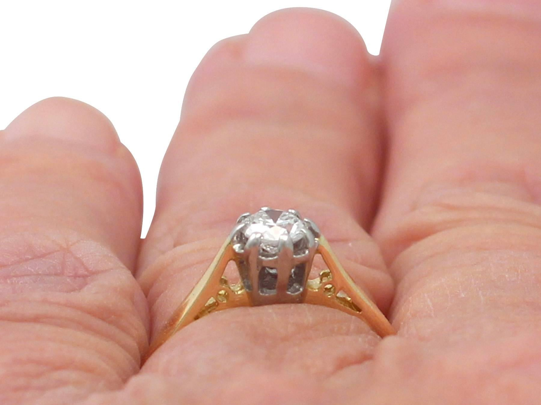 0.38Ct Diamond and 18k Yellow Gold, Platinum Set Solitaire Ring ...