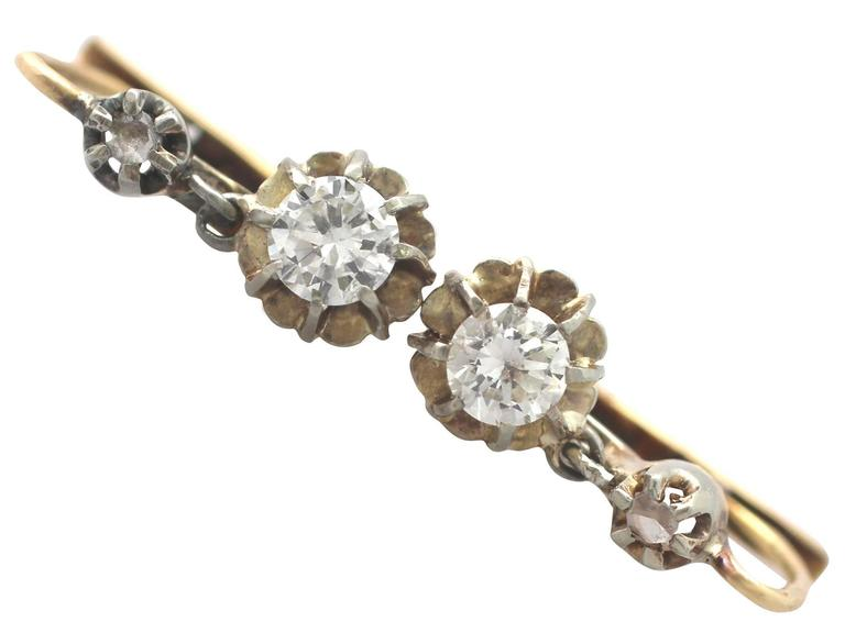 0.54Ct Diamond & 18k Yellow Gold Drop Earrings - Vintage French Circa 1940 2