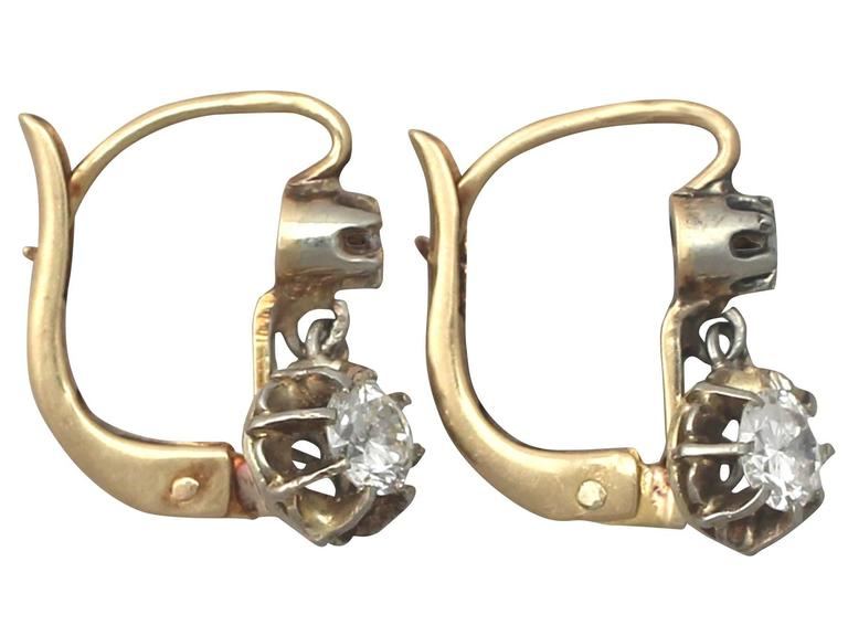 0.54Ct Diamond & 18k Yellow Gold Drop Earrings - Vintage French Circa 1940 5