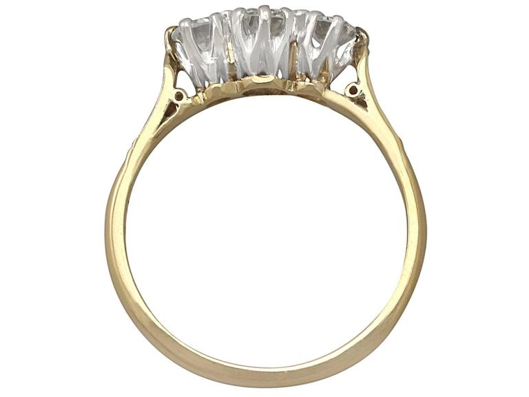 Women's 0.68 Ct Diamond and 18k Yellow Gold, Platinum Set Trilogy Ring - Vintage  For Sale