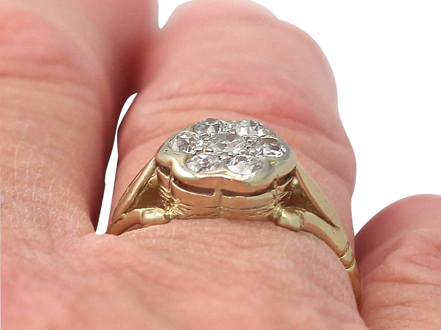 0 51Ct Diamond and 18k Yellow Gold 18k White Gold Set Cluster Ring Vintage