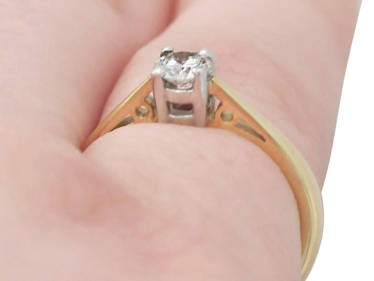0.28Ct Diamond and 18k Yellow Gold Solitaire Ring - Vintage 1994 For ...