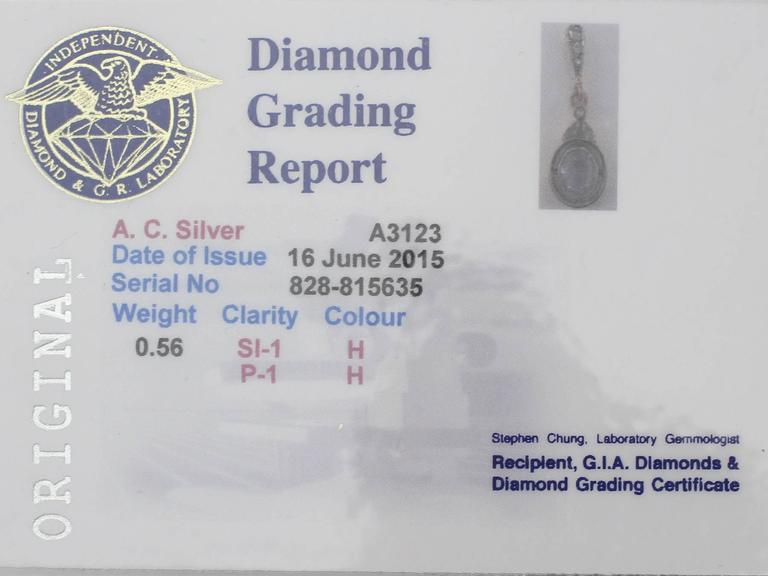 0.56Ct Diamond & 18k Yellow Gold, 18k White Gold Set Pendant - Antique 7