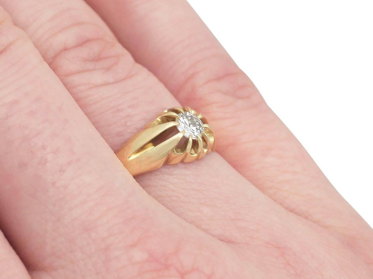 0.38Ct Diamond and 22k Yellow Gold Ring - Antique Victorian at 1stdibs