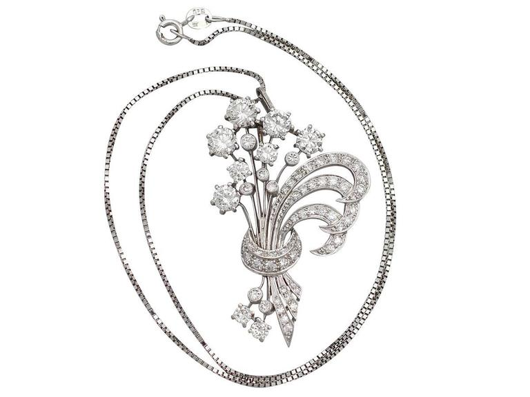 4.98Ct Diamond and Platinum Flower Spray Brooch / Pendant - Vintage Circa 1950 2