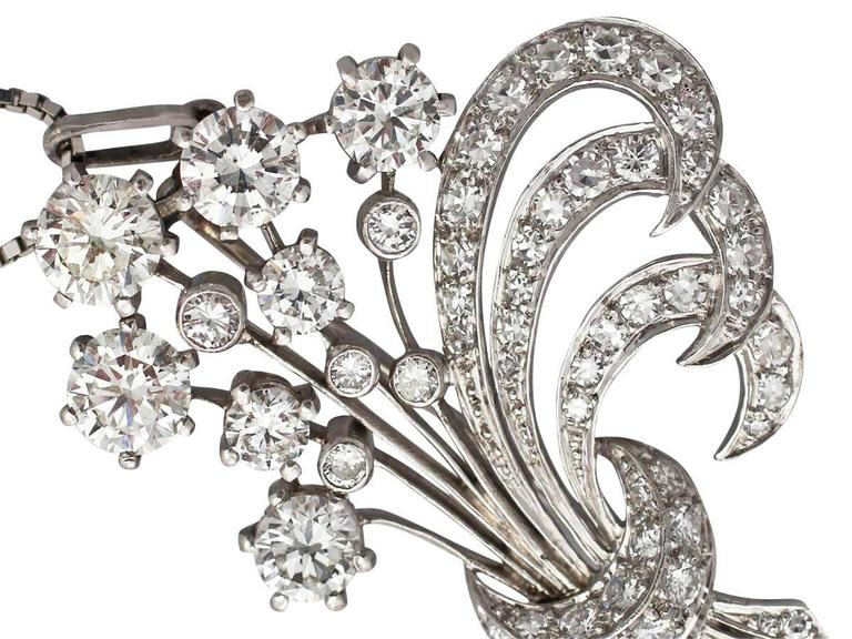 Women's 4.98Ct Diamond and Platinum Flower Spray Brooch / Pendant - Vintage Circa 1950 For Sale