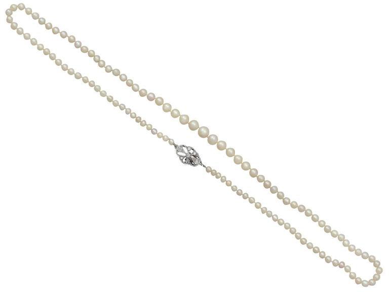 Single Strand Pearl Necklace with 0.25Ct Diamond, 9k White Gold Clasp - Antique 7