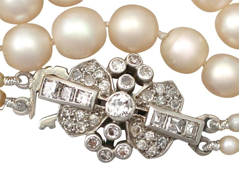 37d3b9677bbb2 Double Strand Pearl Necklace with 0.55Ct Diamond, White Gold Clasp - Antique