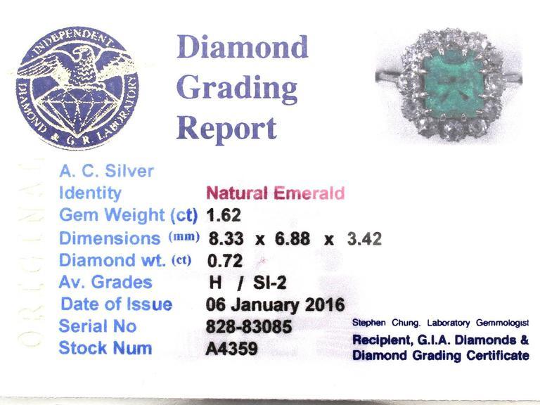 1910s Antique 1.62 Carat Emerald & Diamond Platinum Cluster Ring 6