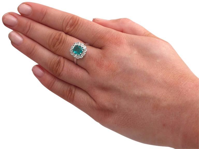 1910s Antique 1.62 Carat Emerald & Diamond Platinum Cluster Ring 7