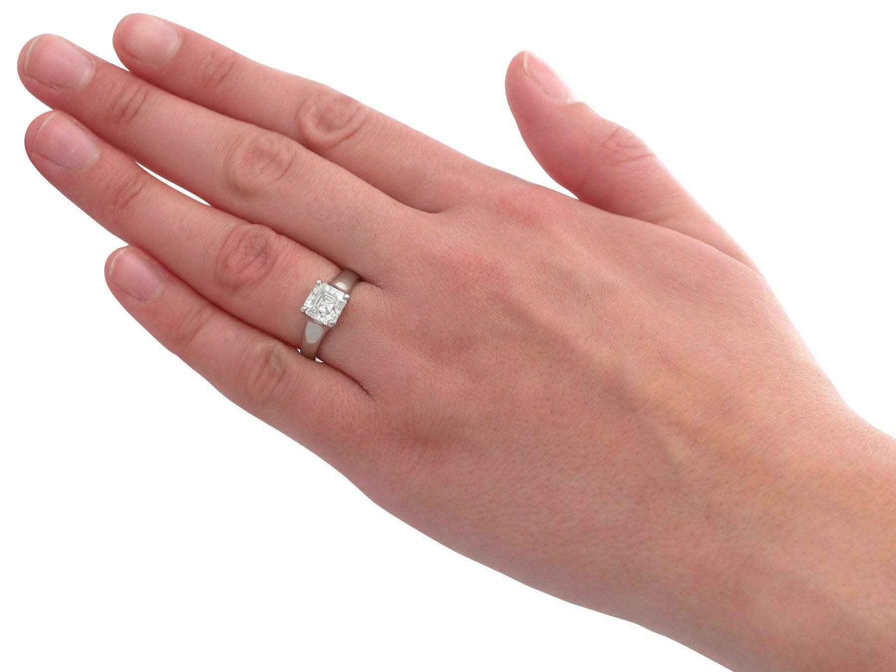 2.04 Carat Diamond Gold Platinum Solitaire Engagement Ring For Sale ...
