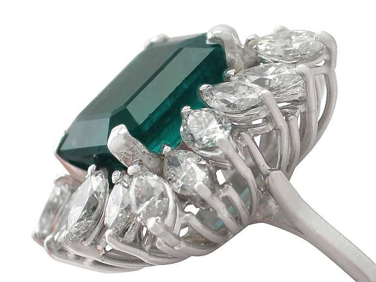 1990s 4.30 Carat Emerald Diamonds Gold Cluster Ring 3