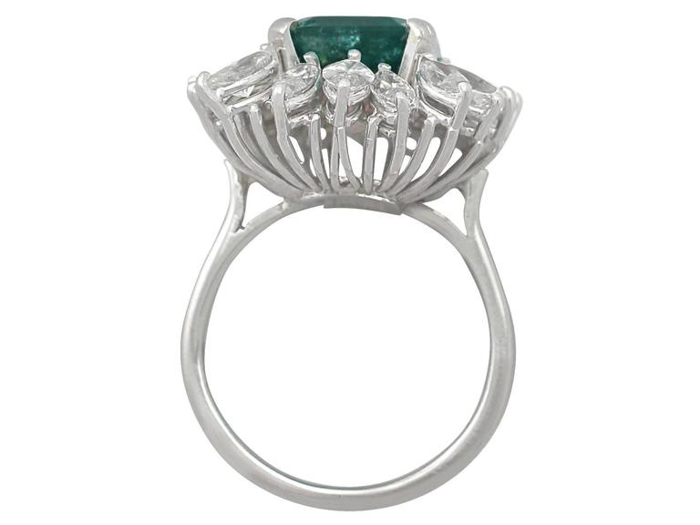 1990s 4.30 Carat Emerald Diamonds Gold Cluster Ring For Sale 1