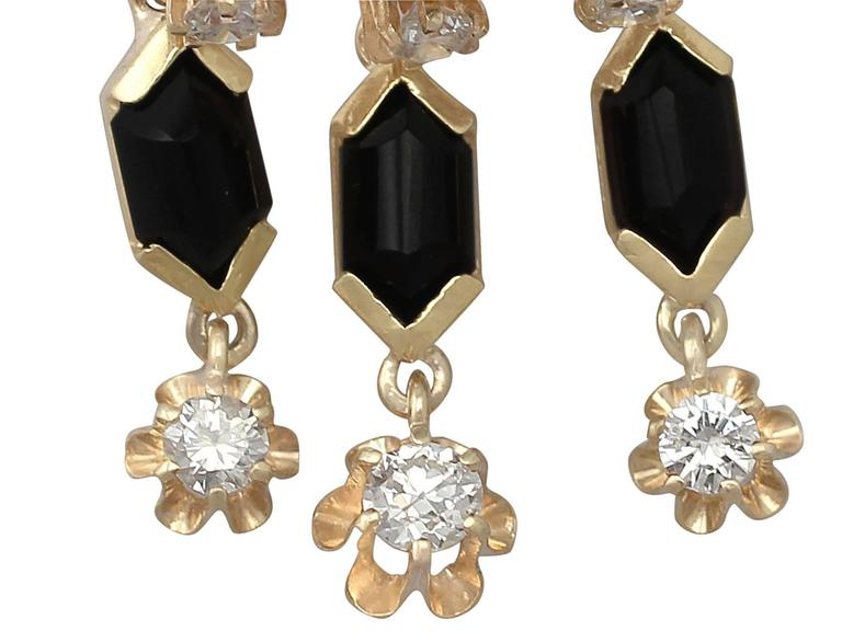 1.40Ct Diamond and Onyx, 14k Yellow Gold Drop Earrings - Vintage Circa 1950 For Sale 1