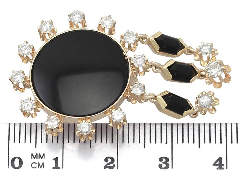 1.40Ct Diamond and Onyx, 14k Yellow Gold Drop Earrings - Vintage Circa 1950 For Sale 2