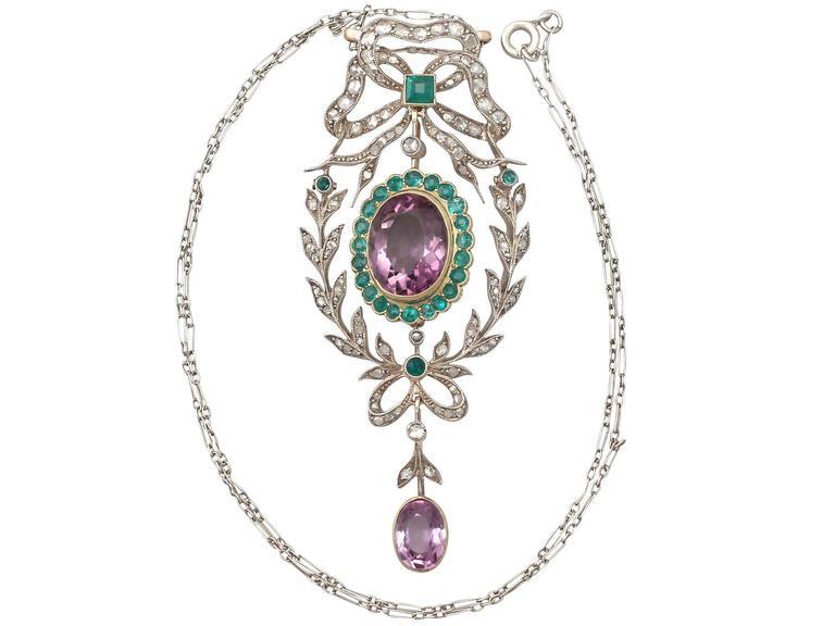 9.88 Carat Amethyst, 1.25 Carat Emerald, 1.13 Carat Diamond, Gold Pendant  2