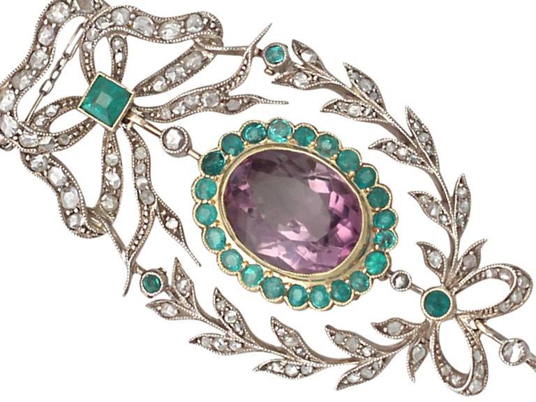 9.88 Carat Amethyst, 1.25 Carat Emerald, 1.13 Carat Diamond, Gold Pendant  3