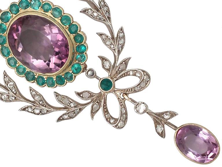 9.88 Carat Amethyst, 1.25 Carat Emerald, 1.13 Carat Diamond, Gold Pendant  4