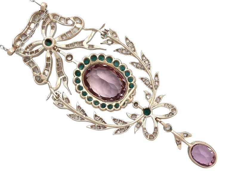 9.88 Carat Amethyst, 1.25 Carat Emerald, 1.13 Carat Diamond, Gold Pendant  6