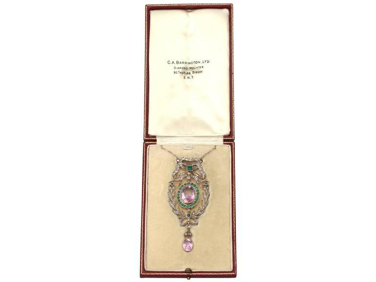 9.88 Carat Amethyst, 1.25 Carat Emerald, 1.13 Carat Diamond, Gold Pendant  7