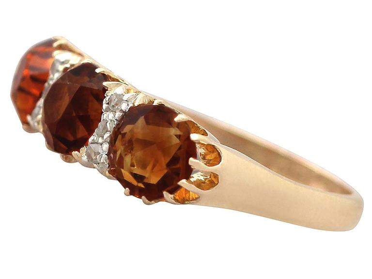 1930s Antique 2.76 Carat Citrine & Diamond Yellow Gold Cocktail Ring In Excellent Condition For Sale In Jesmond, Newcastle Upon Tyne