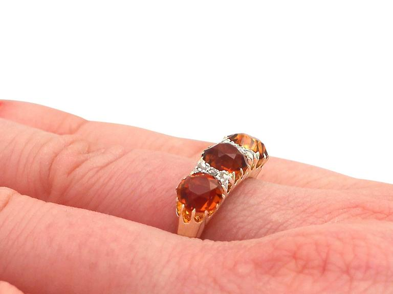 1930s Antique 2.76 Carat Citrine & Diamond Yellow Gold Cocktail Ring For Sale 3