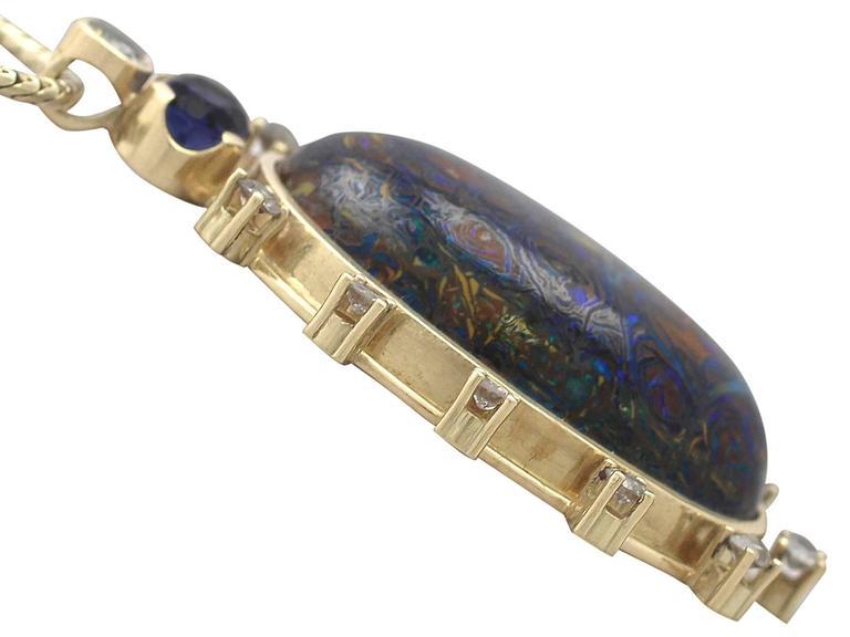 Vintage Boulder Opal Sapphire & Diamond Pendant  4