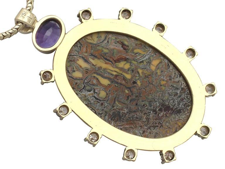 Vintage Boulder Opal Sapphire & Diamond Pendant  5