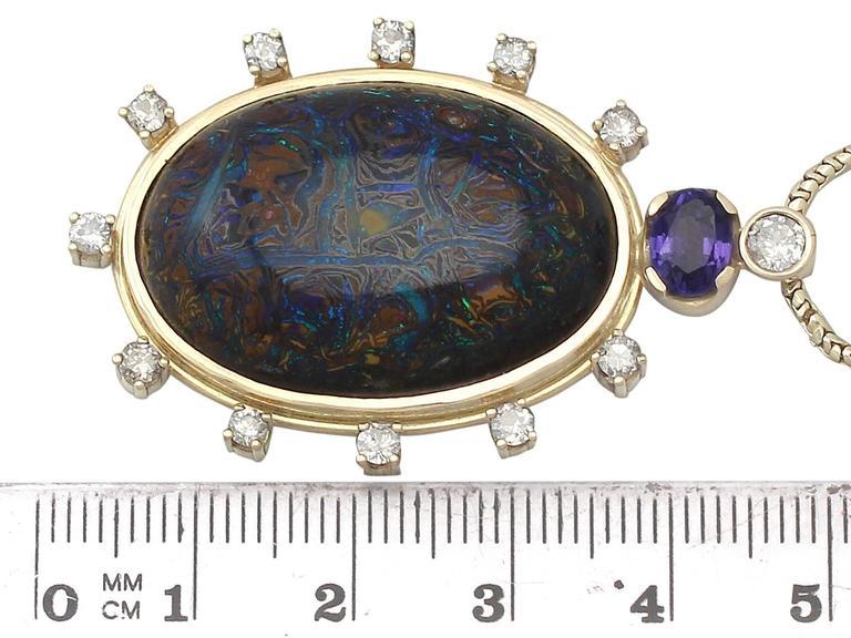 Vintage Boulder Opal Sapphire & Diamond Pendant  6