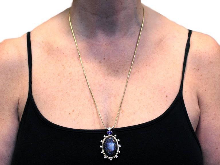 Vintage Boulder Opal Sapphire & Diamond Pendant  8
