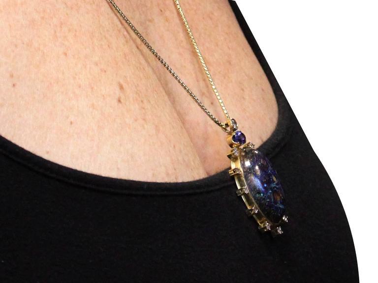 Vintage Boulder Opal Sapphire & Diamond Pendant  9