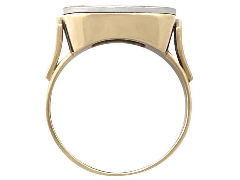 Women's or Men's 1940s Diamond & Black Enamel Yellow Gold Ring For Sale